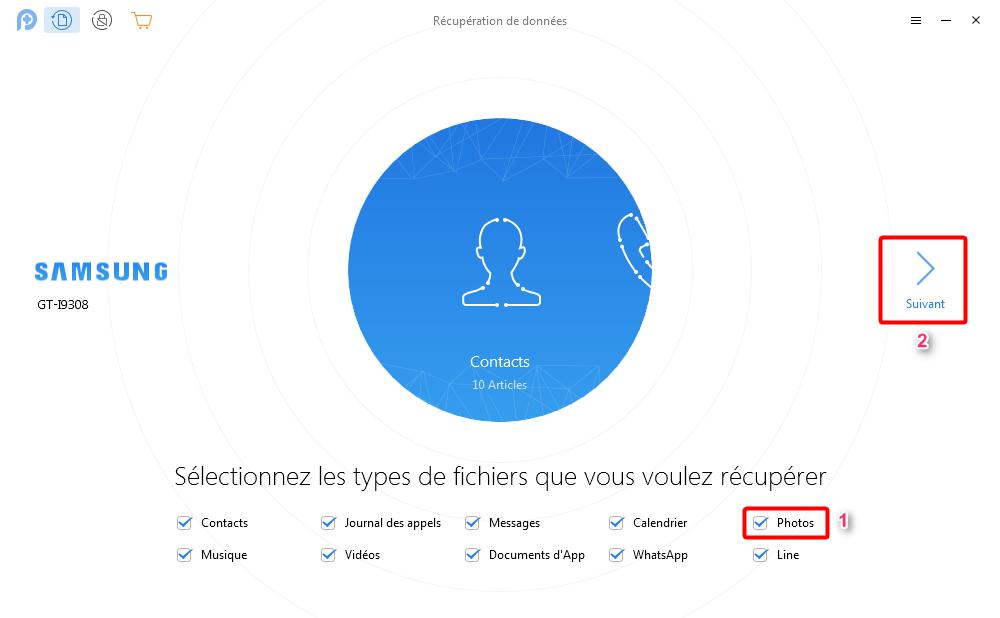Logiciels de récupération de photos Android – étape 2