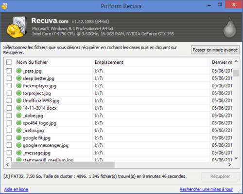 Affichage des résultats de recherche dans Recuva