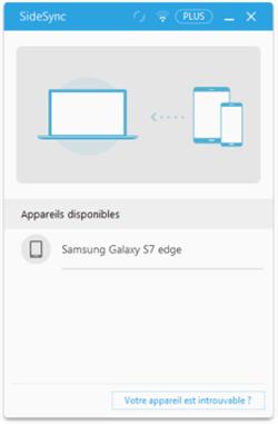 Connexion du téléphone Samsung à SideSync