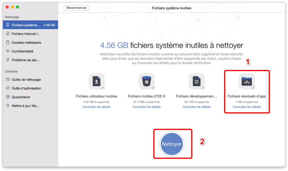 Nettoyer fichiers Origin via MacClean