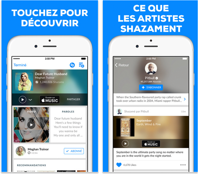 Meilleures applications pour iPhone 6/6s - Shazam