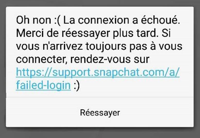 Message d'erreur lors de la connexion à Snapchat