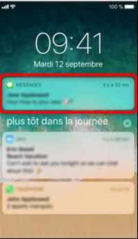 Envoi d'un message depuis l'écran verrouillé (iOS 13 ou version ultérieure)