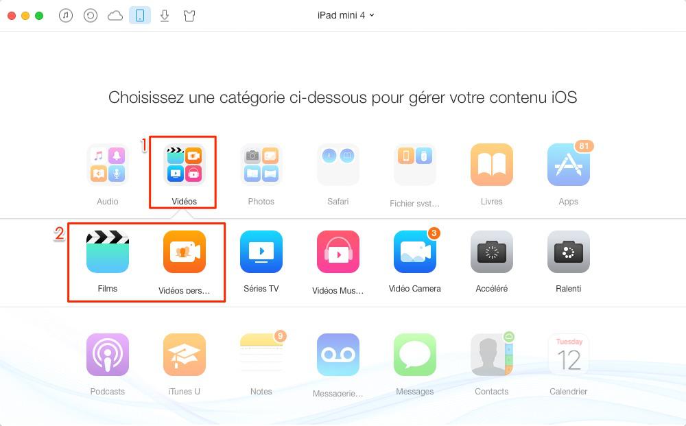 Mettre un film sur iPad sans iTunes – étape 2