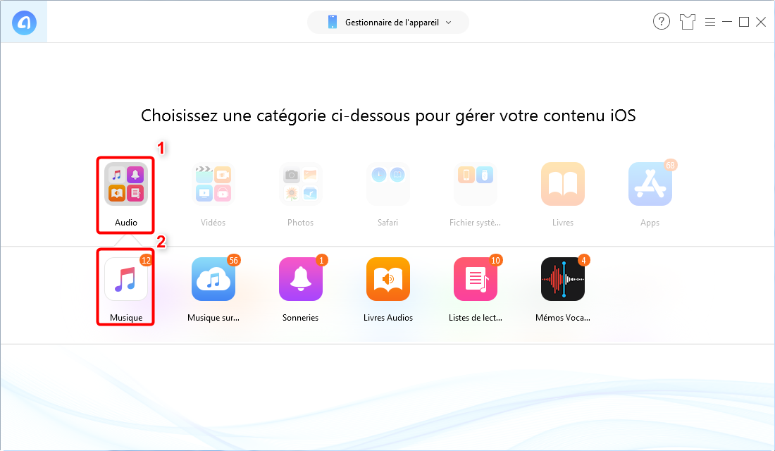 Comment mettre mp3 sur iPhone sans iTunes - étape 2