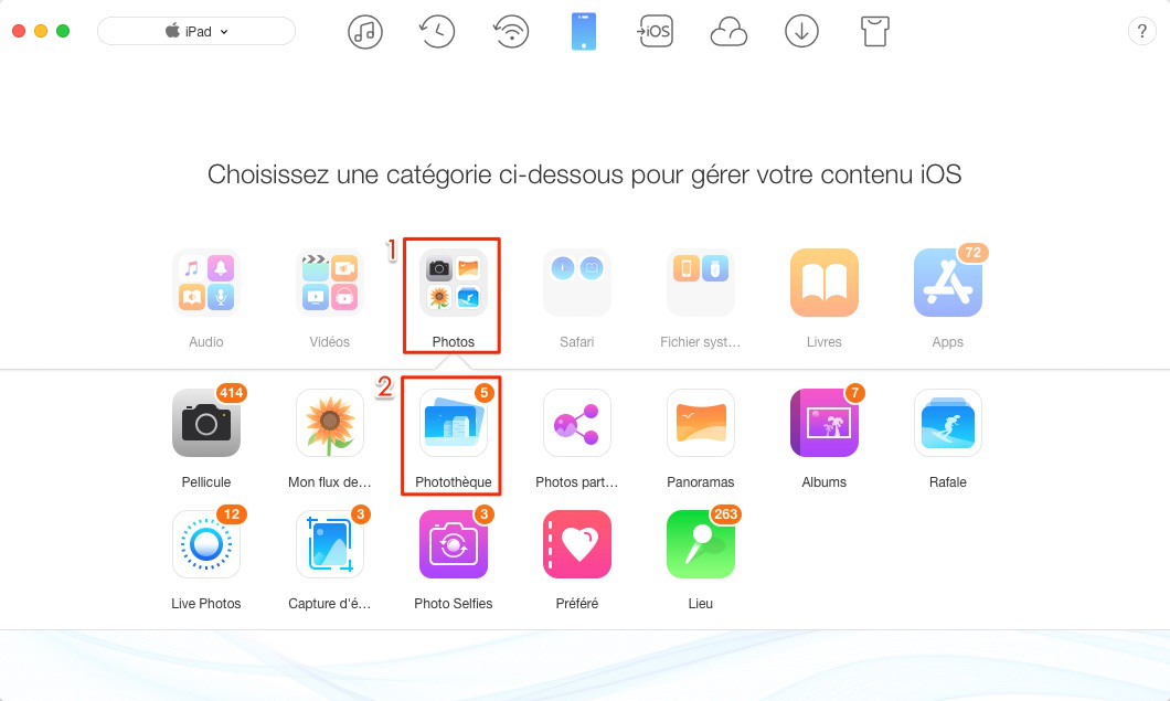 Mettre facilement les photos sur iPad – étape 2