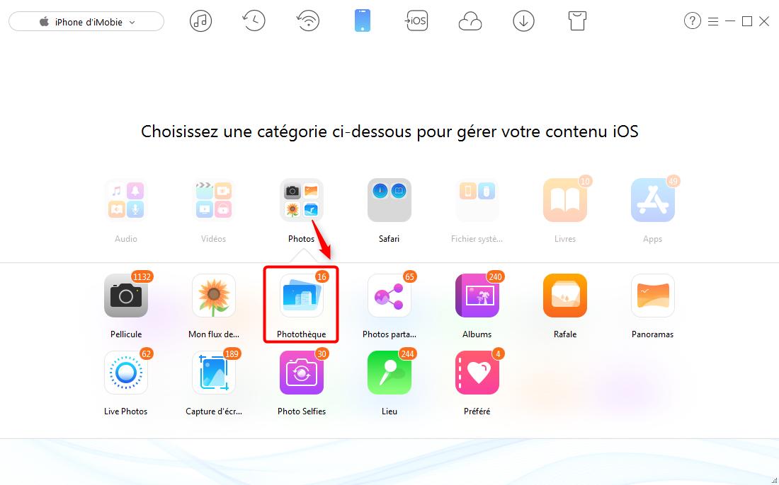 Comment ajouter des photos sur iPhone 7 depuis PC – étape 2
