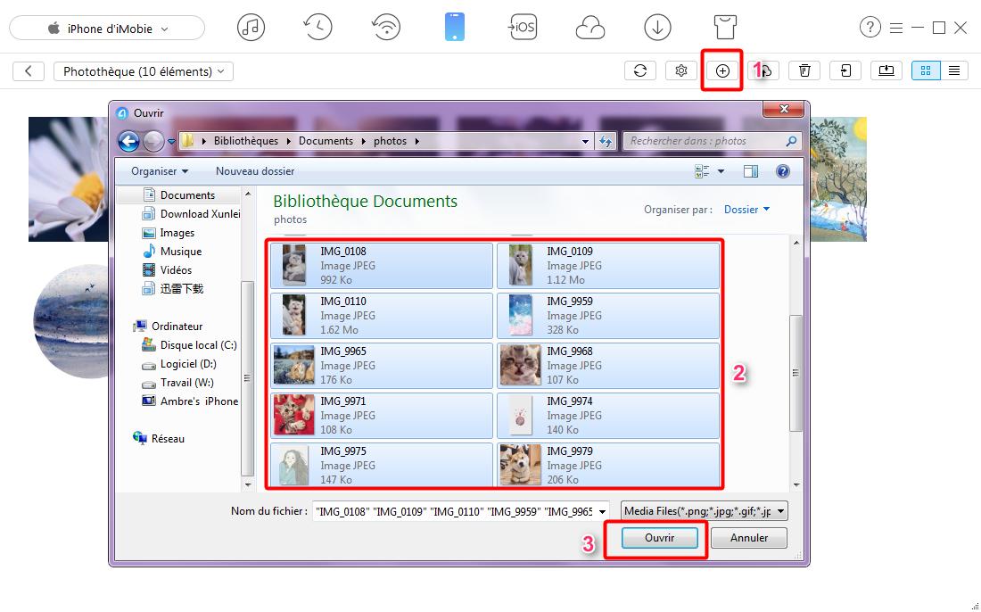 Moyen simple d'ajouter des photos sur iPhone 7 depuis PC – étape 3