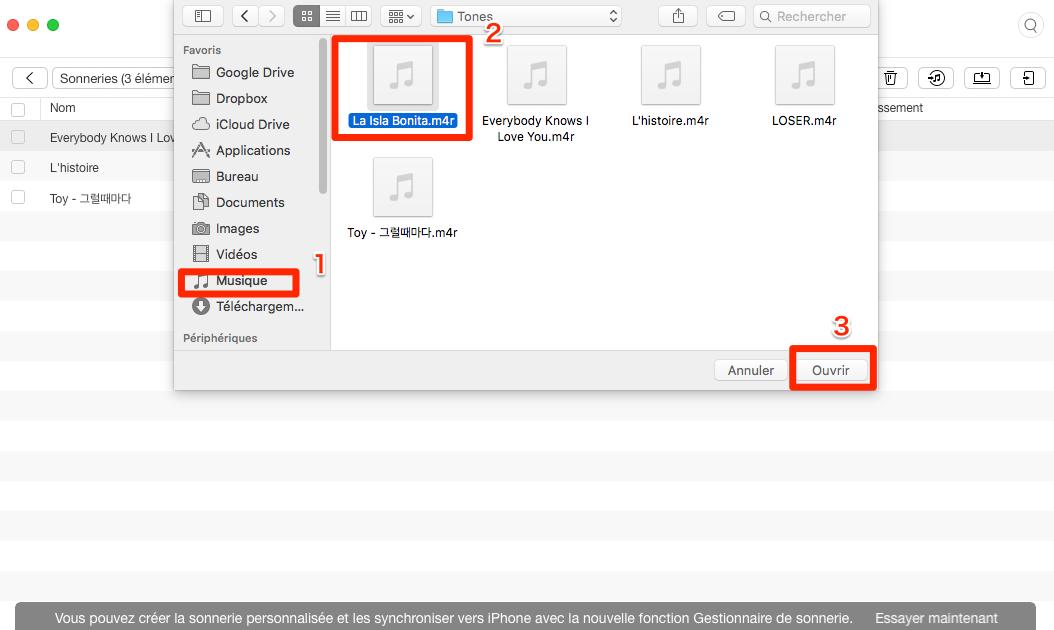 Ajouter des sonneries pour iPhone 7 (Plus) avec AnyTrans pour iOS - étape 3