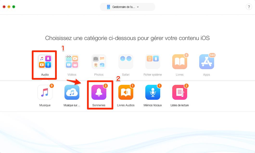 Comment mettre des sonneries sur iPhone sans iTunes - étape 2