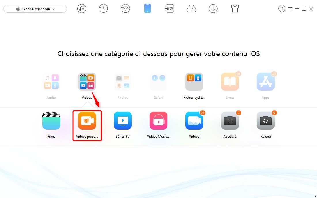 Comment transférer vidéos PC/Mac vers iPhone sans iTunes– étape 2