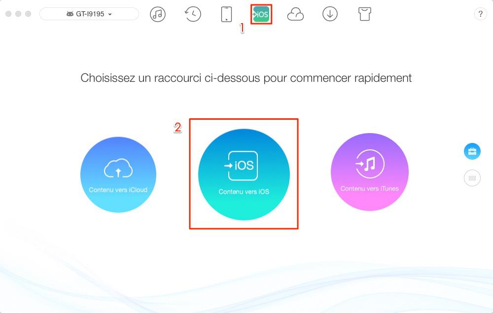 Transférer les données Android vers iOS – étape 1