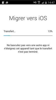 Migrer des données d'Android à iPhone via Migrer vers iOS