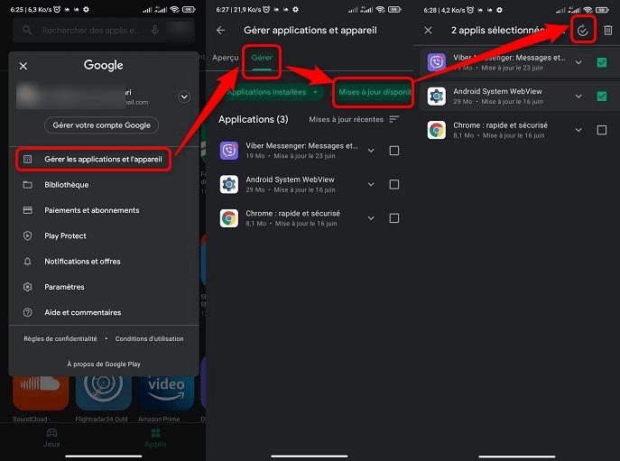 Mise à jour applications depuis Google Play Store