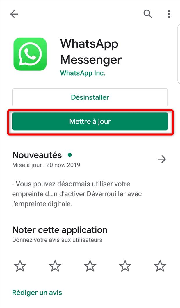 Mise à jour de WhatsApp - étape 2