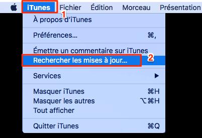 Rechercher les mises à jour iTunes sur Mac
