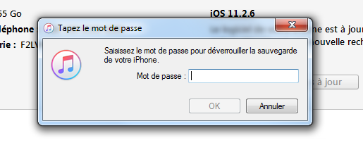 Mot de passe sur sauvegarde iTunes oublié