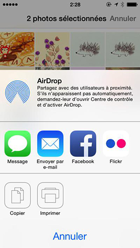 Partager les photos d'un iPhone 6 vers un iPad par AirDrop