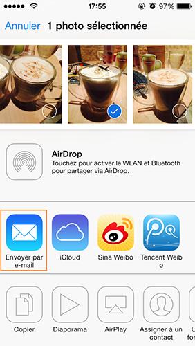 Envoyer les photos d'iPhone 6 vers iPad par e-mail