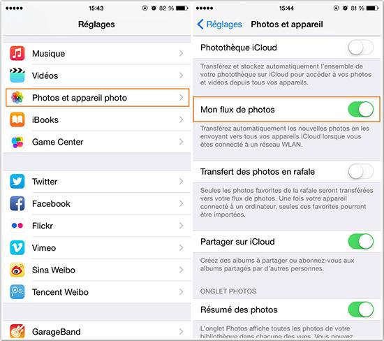 Activer le flux de photos pour transférer photos d'iPhone 6 vers iPad