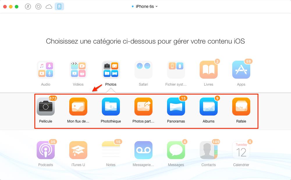Importer les photos iPhone 6/6s vers iPad – étape 2