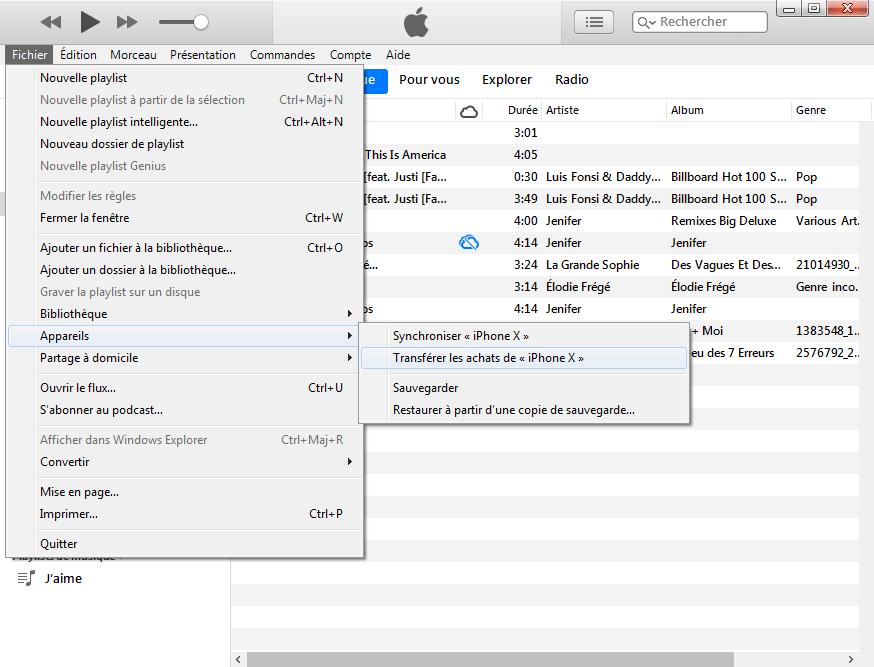 Copierla musique iPhone vers PC