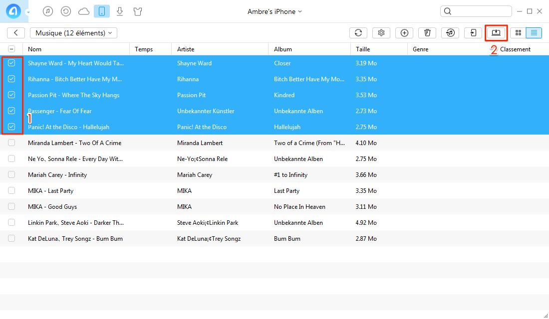 Extraire musique iPhone 4/5/6/7 vers PC – étape 3