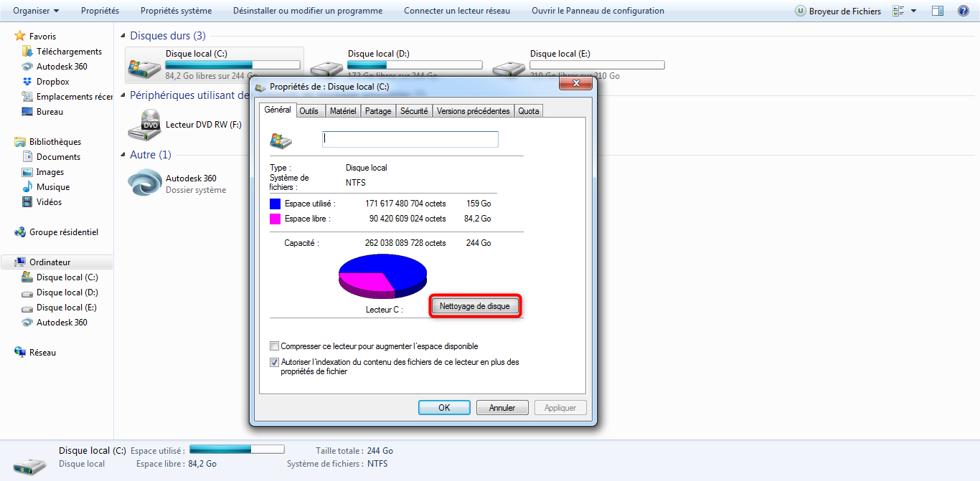 Accès à l'option du nettoyage de disque sous Windows 7
