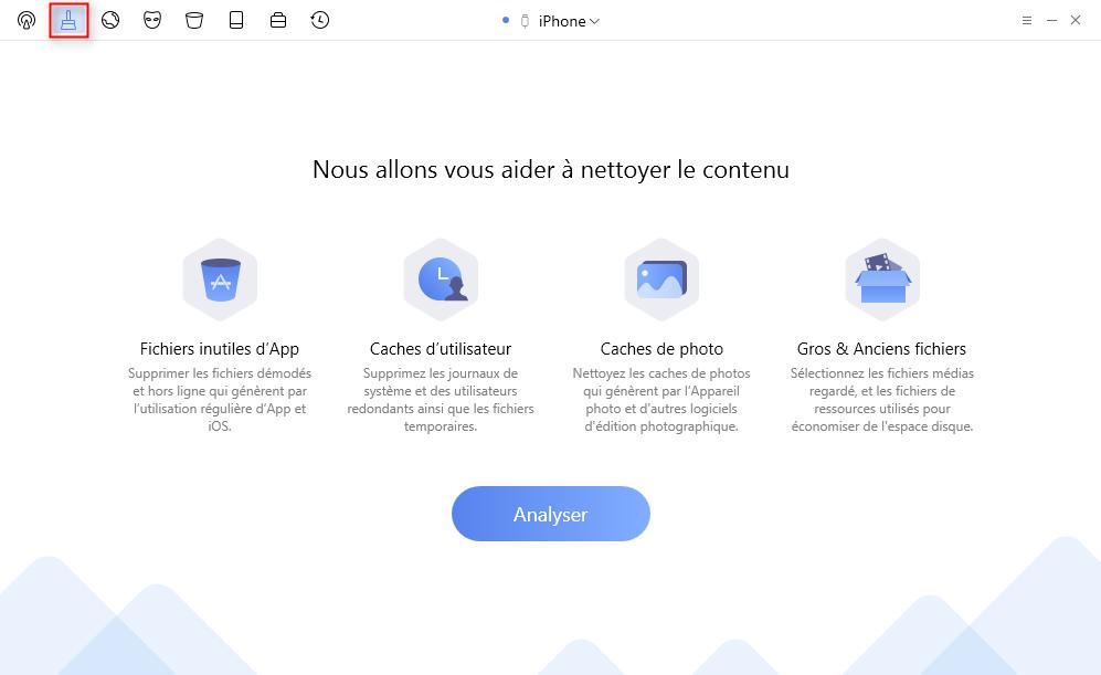 Choisissez Nettoyage rapide pour libérer de la mémoire sur iPhone - étape 1