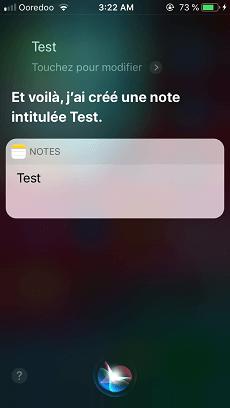 Note avec Siri