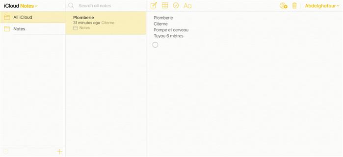 Notes sur iCloud