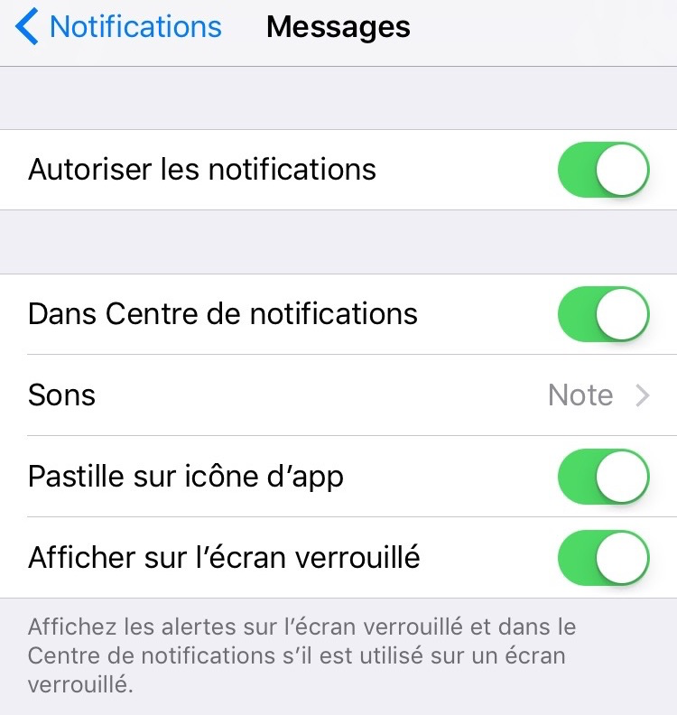Problème de Notifications d'iOS 10 - Vérifier la notification de réglage Apps