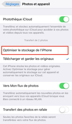 Optimiser stockage des photos d'iPhone – étape 2