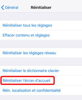 Réinitialiser la disposition de l'écran d'accueil sur iPhone