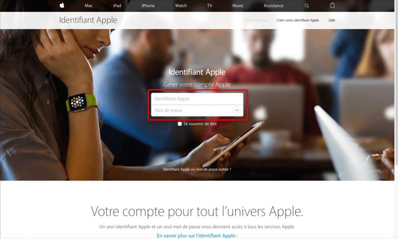 Page d'accueil du site d'Apple ID