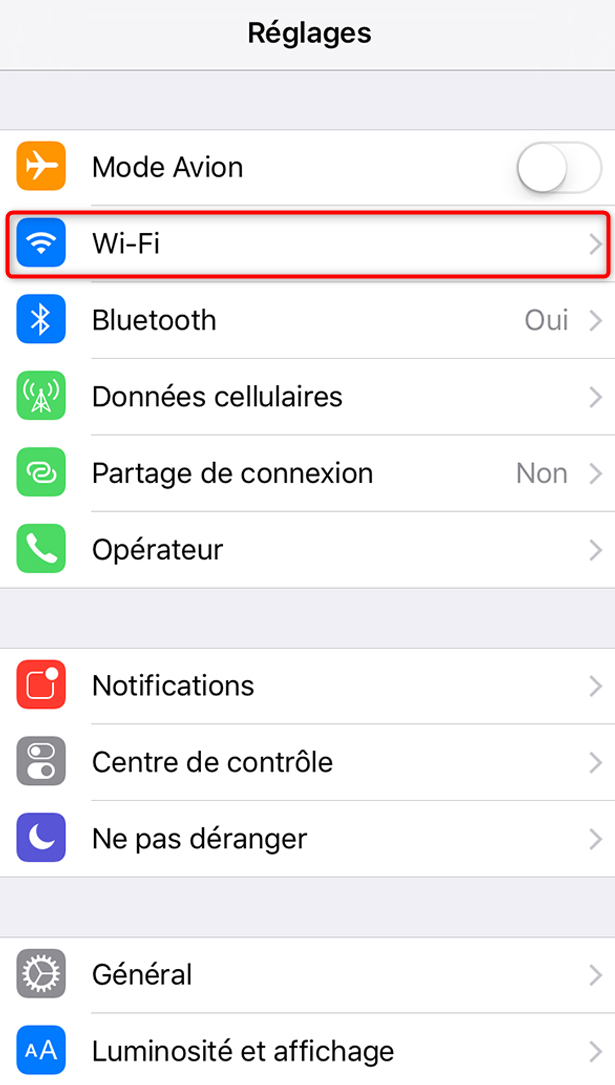 Paramètres du Wifi