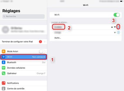Paramètres wifi sur iPad