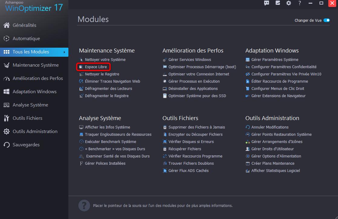 Lancement du module relatif au nettoyage du disque dur