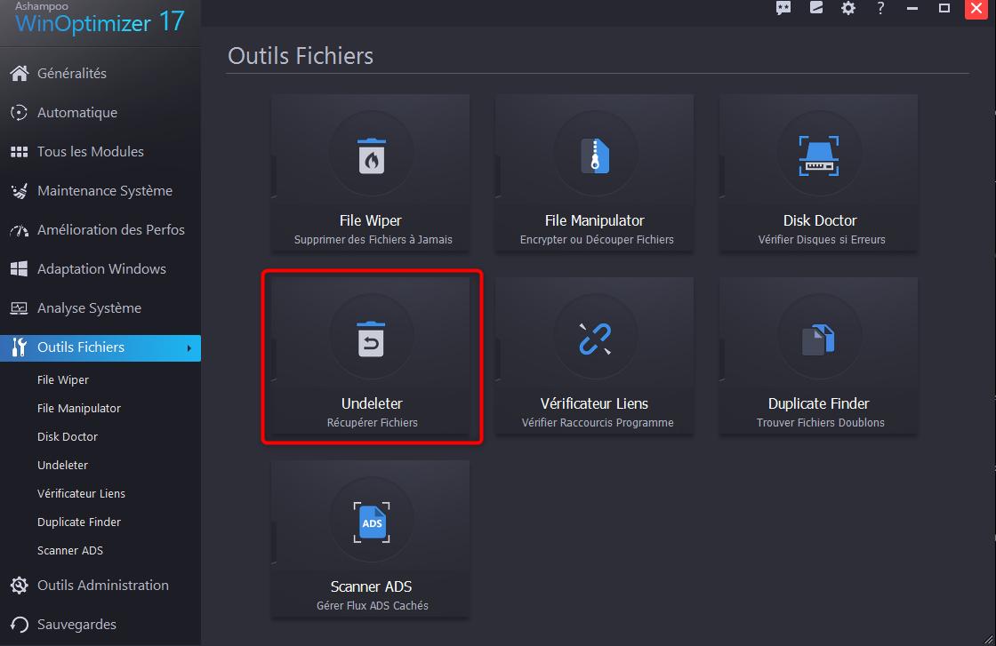Lancement du l'outil de récupération des fichiers