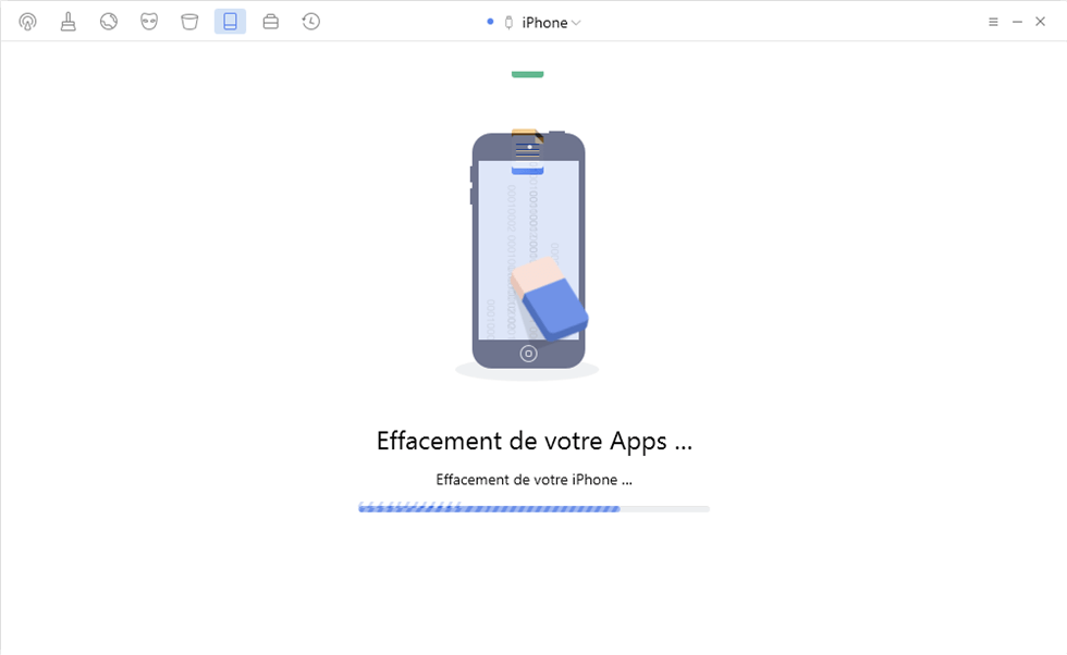 En train d'effacer les contenus d'iPhone