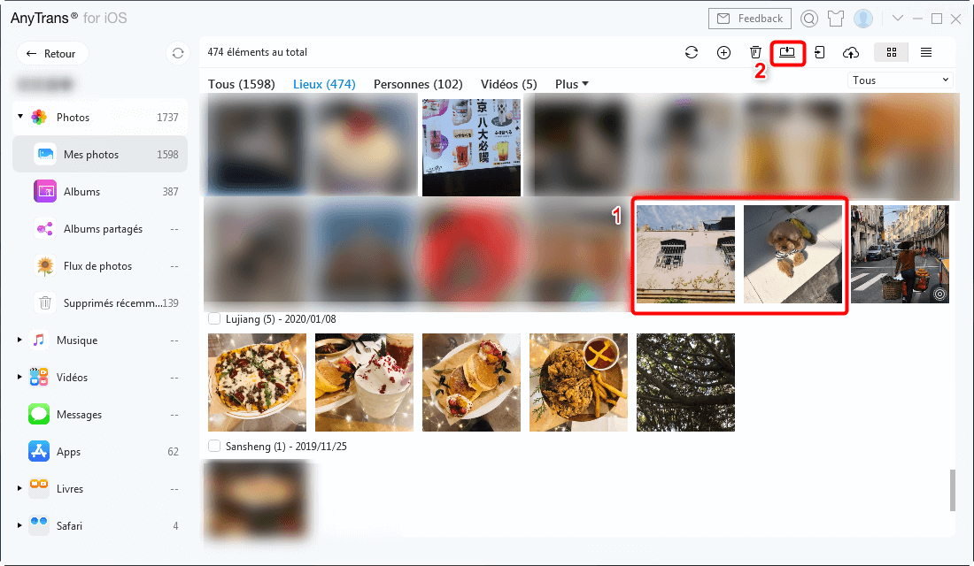 Sélectionner les photos à convertir