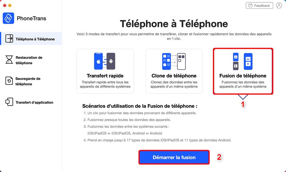 Fusion de téléphone