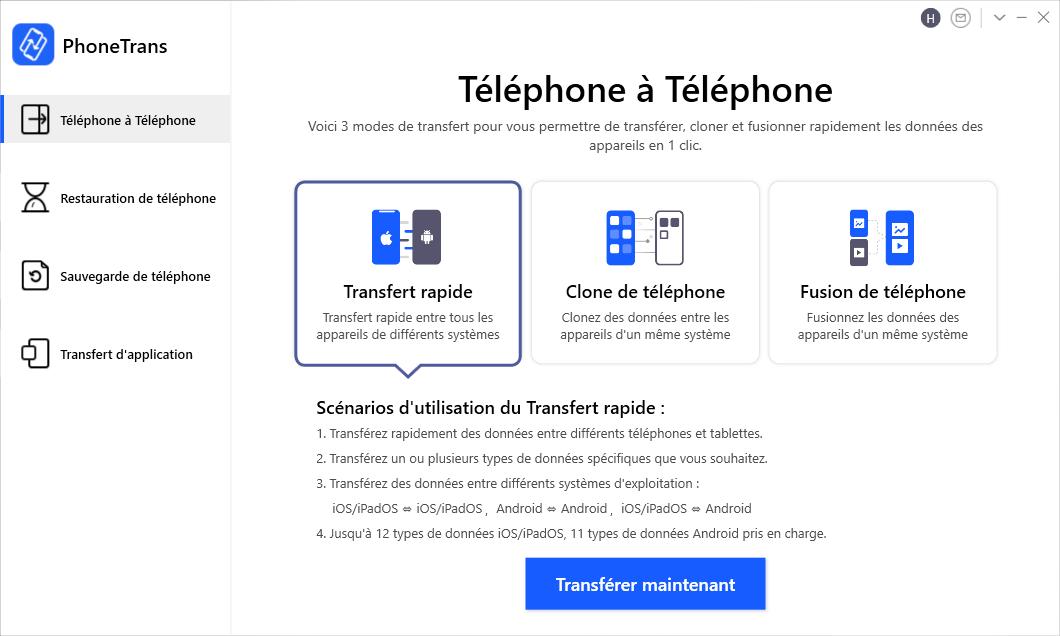 Transfert de téléphone vers téléphone