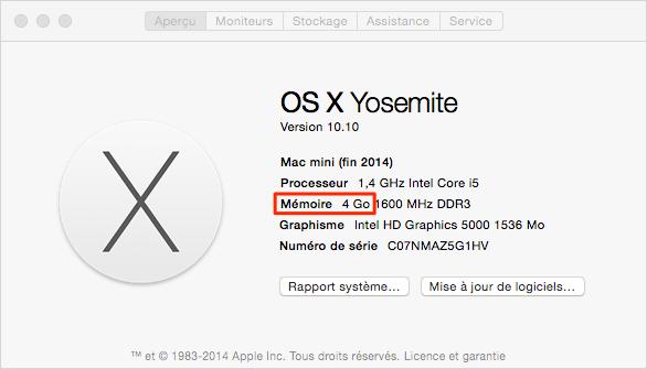 Préparer votre Mac pour la mise à jour – Vérifier RAM