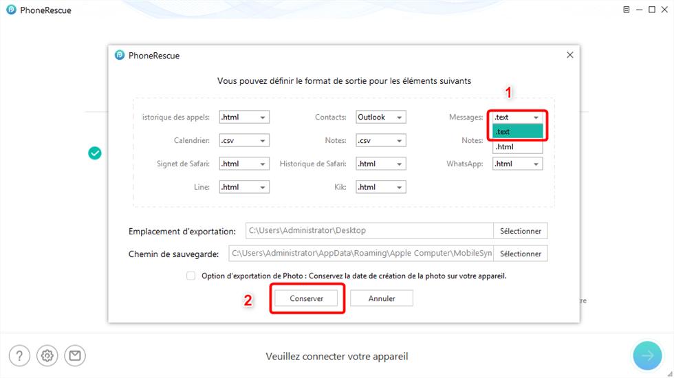 Exporter messages au format html ou texte