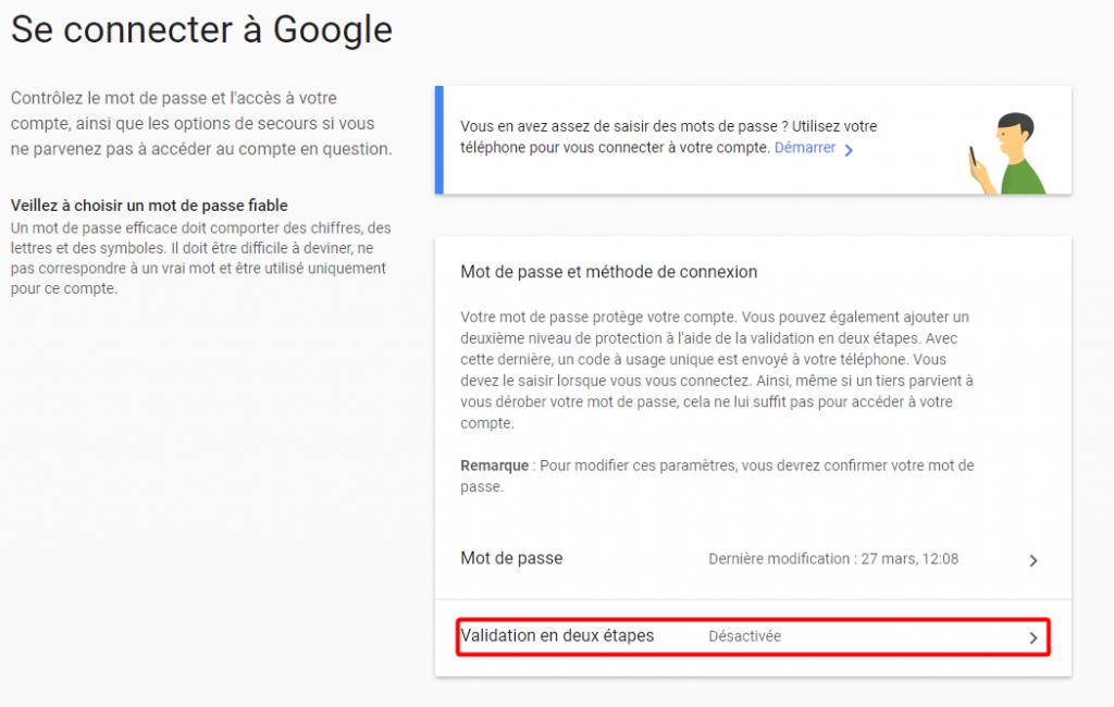 Problème de connexion compte Google – Paramètres de compte Google