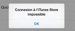 Impossible de connecter à l'iTunes Store sur iPhone