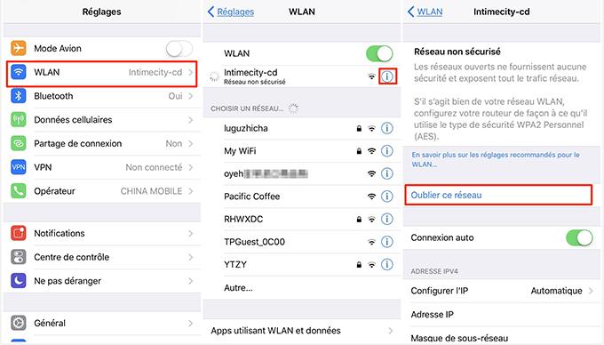 Oublier le réseau de Wi-Fi