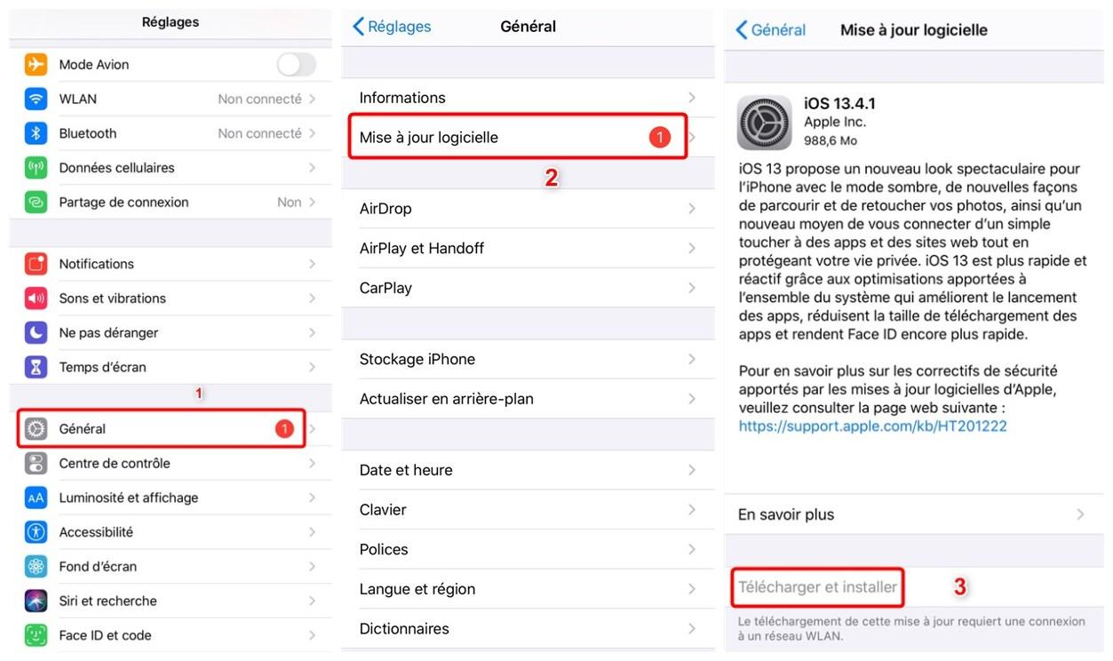 Mise à jour d'iOS