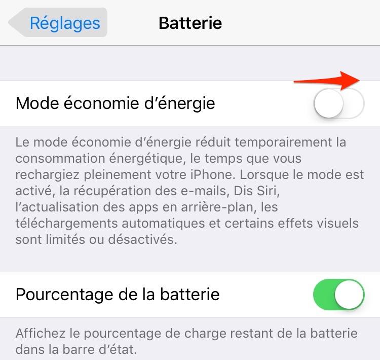 Problème de batterie après la mise à jour  iOS 11/10